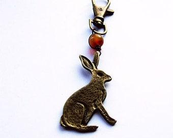 Rabbit Keychain, Rustic Unisex Animal Totem Keychain, Gift for Him, Gift for Her, Wild Rabbit Keychain