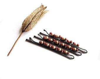 Autumn Bobby Pins, Coffee Hair Pins, Brown Retro Hair Accessories, Autumn Wedding, Brown, Coffee, Retro Bobby Pins