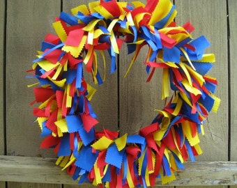 Blue Red Yellow Wreath, Little Boys Room Decor, Kids Birthday Party Decor, Playroom Decoration, Classroom Decor, School Teacher Door Hanger