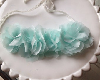 Mint chiffon flower halo