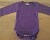 DARK PURPLE - Solid color baby bio cotton bodysuits