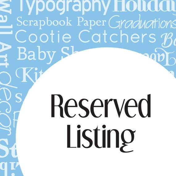 Reserved Listing for tanja0922