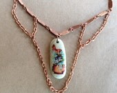 Handmade Necklace Gorgeous Vintage Copper Chain Blue River Rock with Vintage Butterfly and Blue Flowers in Gold Urn