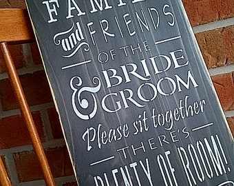 Family and Friends of the Bride and Groom wedding wooden sign by Dressingroom5