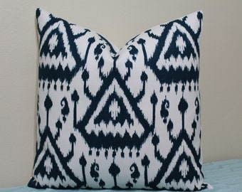 "SALE - Schumacher Vientiane Ikat in Indigo - 20"" x 20"" Decorative Designer Pillow Cover"