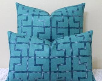 BOTH SIDES - Celerie Kemble for F. Schumacher Bleecker print in PEACOCK - Lumbar and Square Sizes - Designer Pillow Cover