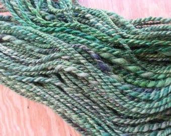 Forest Green Gray Masham Bulky Weight Wool Yarn