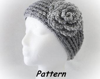 Instant Download for PDF CROCHET Pattern: New Headband w/Lettuce Leaf Rose