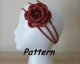 Instant Download to PDF CROCHET Pattern: Three-Strand Rose Headband