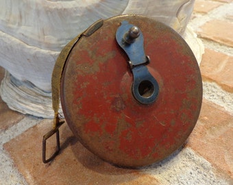 SALE Industrial Nautical Flair, 1930ish 50 Ft. Measuring Tape ORIGINAL Chippy Red Paint, Working Tape Reel, Super Aged Cloth Tape, Southern