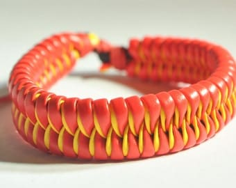 Red and Yellow Single braided leather bracelet