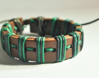 Green and Black hemp cord wrapped with Brown leather bracelet