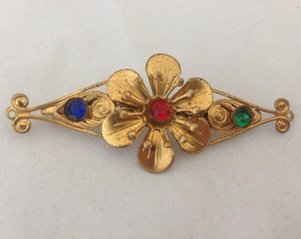 Vintage Filligree Gold Flower Brooch - 1930s Statement Brooch for coat - Stylized Floral Brass - multi-colored stones -red green blue