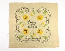 Vintage Pansy Pillow Top - Pansies for Thoughts- Royal Society Silk Embroidered Tinted Linen Pillow Cover - Victorian Yellow Black Green