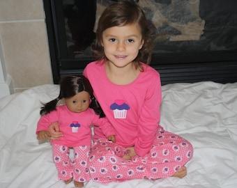"Little Girl Pink Cupcake Pajama Pants and Shirt with Matching 18"" or 15"" Doll Pajamas"