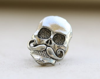 Skull With Mustache Antique Silver Steampunk Groomsmen Men's Tie Tack Father's Day Accessories