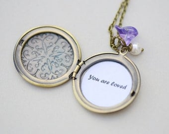You are loved Locket,Brass Locket Necklace,Flower Locket,Pearl,Wedding Necklace