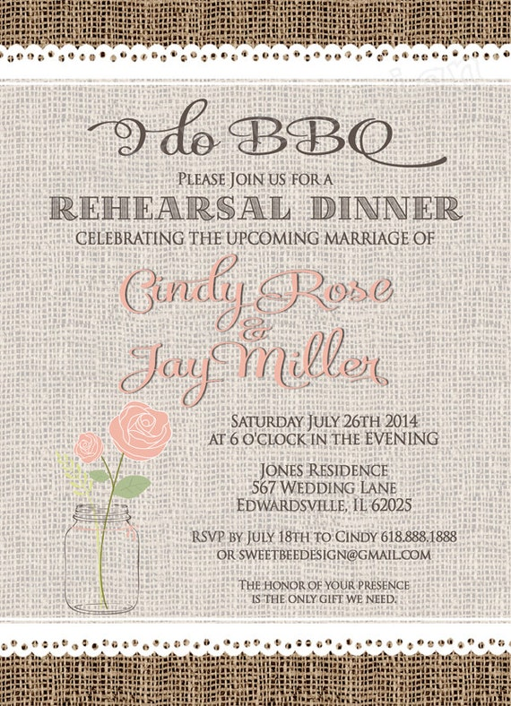 Lace Rehearsal Dinner I DO BBQ Invitation