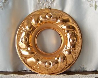 Vintage Coppertone Round Mould Extra Large Coppertone Mold Jello Mold Kitchen Decor 1960s