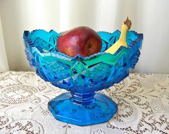 Antique Blue Pattern Glass Pedestal Bowl Saw Tooth Edge Blue Fruit Bowl Large Oval Serving Bowl circa 1910s