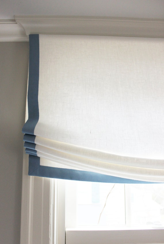Custom Casual Roman Shade in Kravet Dublin Linen with Samuel