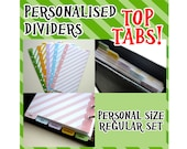 SIZE: PERSONAL Personalised Dividers with Tabs Cute Kawaii Custom Made Filofax
