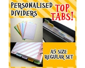 SIZE:A5 (Top Tabs/Regular Set) Personalised Dividers Cute Kawaii Custom Made For Filofax