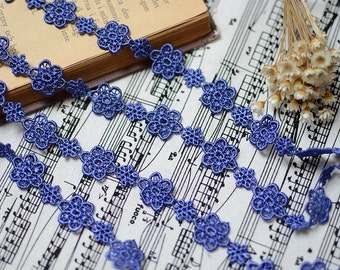 Venice Lace Trim - 5.5 yards Blue Flower Lace Trim (L185)