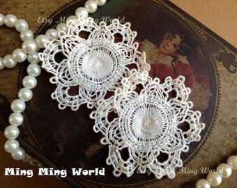 Cotton Applique Lace - 2 PCS Light Beige Snow Flower Applique Lace (A93)
