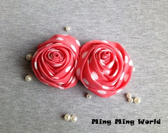 Handmade Rose Applique -Retro-  2 PCS Style Pink and White Dot Fabric Roses(F3)