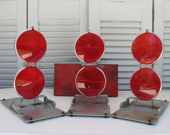 Vintage Red Reflector Road Flares - Anthes, Madison IA