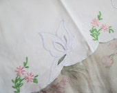 Shabby Chic Vintage Standard Pillowcase Embroidered Butterfly Floral C98