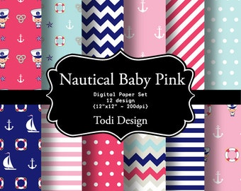 Nautical Baby Pink INSTANT DOWNLOAD Digital Paper Set
