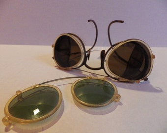 Vintage 1920s 1930s Steampunk Safety Glasses plus two sets of shades!