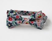 Blue Paisley Bow Tie for Infant, Toddler, and Boy with Velcro Closure - Ready to Ship - RTS- Clearance Sale