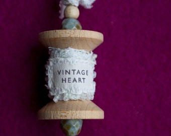 Vintage Heart Lace on Wooden Spool Pendant
