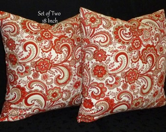 Decorative Accent Pillows, Pillow Covers, Throw Pillows, Cushion Covers - Set of Two 18 Inch - Rust, Taupe and White