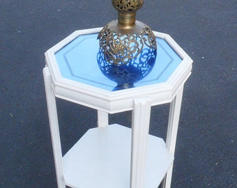 Art Deco Blue Mirror Glass Table
