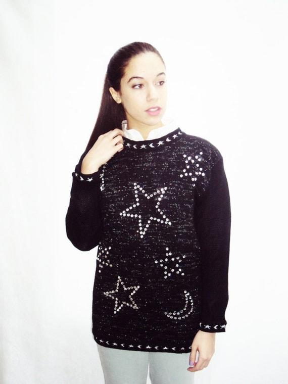 vintage 90s STAR PRINT sweater / metallic stars / strong shoulders / medium