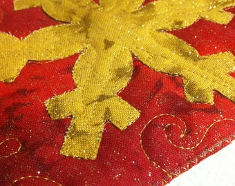 Holiday Fabric Postcard Set-Gold Snowflake on Red Quiltsy Handmade