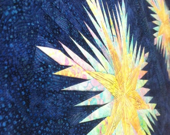Quilted Table Runner Feathered Stars Blue and Yellow Quiltsy Handmade