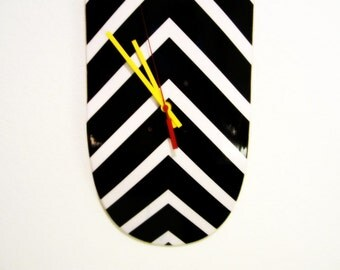 Black and White Arrows Maple Skateboard Clock  --READY TO SHIP--
