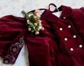 1960's Vintage Burgundy Wine Velvet Girl Coat and Bonnet Double Breasted Coat with Ruffles and Beaded Applique Cute Togs USA OC