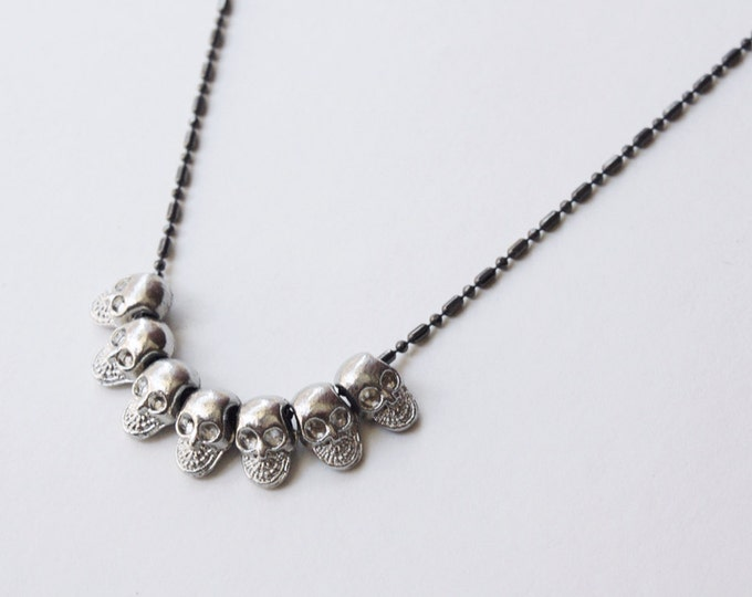 Mapplethorpe Gunmetal Skull Necklace - inspired by Patti Smith and Robert Mapplethorpe in Just Kids