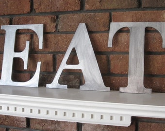 Metal Zinc Letters EAT sign wall art decor wood vintage style