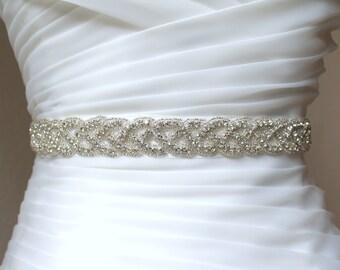 Bridal Silver or Gold Beaded Crystal Braided Sash.  Woven Rhinestone Luxury Wedding Belt. CLASSIC BRAID