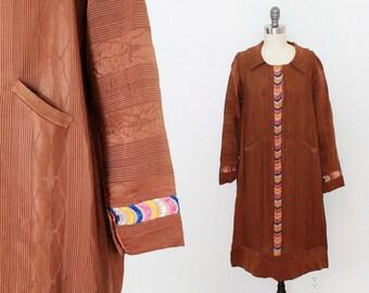 1920s Dress / Folk Flapper Dress / Moire Emroidered Dress  S M