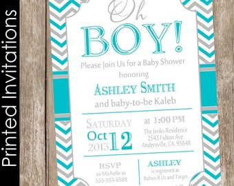 Printed Oh Boy Baby Shower Invitation, teal and gray, chevron baby shower invitation, typography, baby shower invitation, (FREE ENVELOPES)