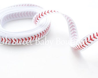 "3/8"" Baseball Thread Grosgrain Ribbon"
