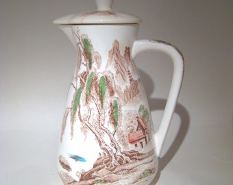 Nasco Transferware - Sayonara - Coffee Pot with Lid - Pitcher